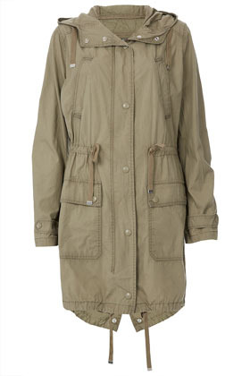 Unlined Parka - pattern: plain; fit: loose; style: parka; back detail: hood; length: on the knee; collar: high neck; predominant colour: khaki; secondary colour: silver; occasions: casual; fibres: cotton - 100%; waist detail: belted waist/tie at waist/drawstring; sleeve length: long sleeve; sleeve style: standard; texture group: cotton feel fabrics; collar break: high; pattern type: fabric; season: s/s 2013