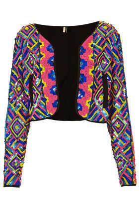 Beaded Rainbow Jacket - style: single breasted blazer; collar: round collar/collarless; secondary colour: black; occasions: casual, evening, occasion, holiday; fit: straight cut (boxy); fibres: polyester/polyamide - 100%; predominant colour: multicoloured; sleeve length: long sleeve; sleeve style: standard; trends: statement prints, fluorescent; collar break: low/open; pattern type: fabric; pattern: patterned/print; texture group: other - light to midweight; embellishment: beading; season: s/s 2013; multicoloured: multicoloured; length: cropped