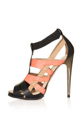 Rafferty High Gladiator Sandal - secondary colour: blush; predominant colour: black; occasions: evening, occasion; material: leather; ankle detail: ankle strap; heel: stiletto; toe: open toe/peeptoe; style: gladiators; finish: plain; pattern: colourblock; heel height: very high; season: s/s 2013