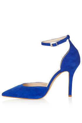Gizmo Ankle Strap Court Shoes - predominant colour: royal blue; occasions: evening, occasion; material: suede; heel height: high; ankle detail: ankle strap; heel: stiletto; toe: pointed toe; style: courts; trends: fluorescent; finish: plain; pattern: plain; season: s/s 2013
