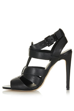 Ralley Single Sole Heels - predominant colour: black; occasions: casual, evening, occasion; material: leather; ankle detail: ankle strap; heel: stiletto; toe: open toe/peeptoe; style: strappy; finish: plain; pattern: plain; heel height: very high; season: s/s 2013