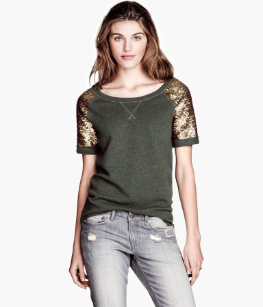 Sweatshirt Top - pattern: plain; shoulder detail: contrast pattern/fabric at shoulder; predominant colour: khaki; secondary colour: gold; occasions: casual, evening; length: standard; style: top; neckline: scoop; fibres: cotton - mix; fit: loose; sleeve length: short sleeve; sleeve style: standard; texture group: jersey - stretchy/drapey; embellishment: sequins; season: s/s 2013