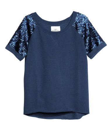 Sweatshirt Top - pattern: plain; style: sweat top; shoulder detail: contrast pattern/fabric at shoulder; predominant colour: navy; occasions: casual, evening; length: standard; neckline: scoop; fibres: cotton - mix; fit: straight cut; sleeve length: short sleeve; sleeve style: standard; texture group: jersey - stretchy/drapey; embellishment: sequins; season: s/s 2013