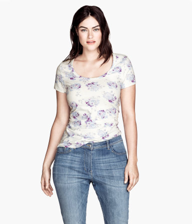 + Top - predominant colour: ivory/cream; secondary colour: lilac; occasions: casual; length: standard; style: top; neckline: scoop; fibres: cotton - stretch; fit: body skimming; sleeve length: short sleeve; sleeve style: standard; trends: high impact florals; pattern: florals; texture group: jersey - stretchy/drapey; season: s/s 2013