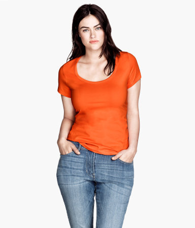 + Top - pattern: plain; predominant colour: bright orange; occasions: casual; length: standard; style: top; neckline: scoop; fibres: cotton - stretch; fit: body skimming; sleeve length: short sleeve; sleeve style: standard; texture group: jersey - stretchy/drapey; season: s/s 2013