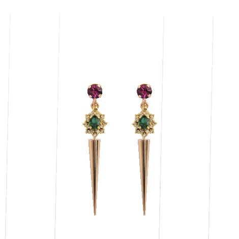 Spike Crystal Cluster Earrings - secondary colour: pink; predominant colour: gold; occasions: evening, occasion; style: drop; length: long; size: standard; material: chain/metal; fastening: pierced; finish: metallic; embellishment: jewels/stone; season: s/s 2013