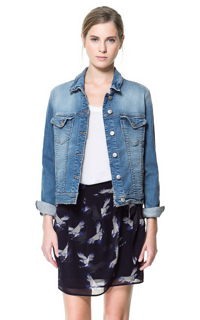 Denim Jacket - pattern: plain; style: single breasted blazer; collar: standard lapel/rever collar; predominant colour: denim; occasions: casual, evening, work; length: standard; fit: straight cut (boxy); fibres: cotton - stretch; sleeve length: long sleeve; sleeve style: standard; texture group: denim; collar break: medium; pattern type: fabric; season: s/s 2013