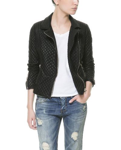 Faux Leather Biker Jacket - pattern: plain; style: biker; collar: standard biker; predominant colour: black; occasions: casual, evening, work; length: standard; fit: tailored/fitted; sleeve length: long sleeve; sleeve style: standard; texture group: leather; collar break: high/illusion of break when open; embellishment: quilted; season: s/s 2013