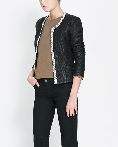 Combination Jacket - pattern: plain; style: single breasted blazer; collar: round collar/collarless; predominant colour: black; occasions: casual, evening, work, occasion; length: standard; fit: straight cut (boxy); shoulder detail: added shoulder detail; sleeve length: 3/4 length; sleeve style: standard; collar break: medium; pattern type: fabric; texture group: other - light to midweight; fibres: viscose/rayon - mix; season: s/s 2013