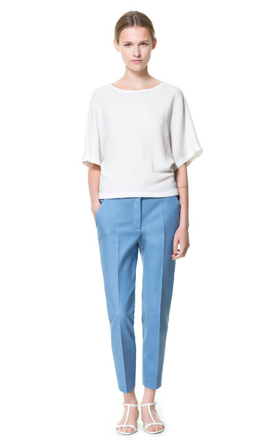 Cropped Trousers - pattern: plain; waist: mid/regular rise; predominant colour: denim; occasions: casual, evening, work; length: ankle length; fibres: cotton - stretch; jeans & bottoms detail: turn ups; texture group: cotton feel fabrics; fit: straight leg; pattern type: fabric; style: standard; season: s/s 2013