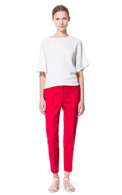 Cropped Trousers - pattern: plain; waist: mid/regular rise; predominant colour: hot pink; occasions: casual, evening, work; length: ankle length; fibres: cotton - stretch; jeans & bottoms detail: turn ups; texture group: cotton feel fabrics; fit: straight leg; pattern type: fabric; style: standard; season: s/s 2013