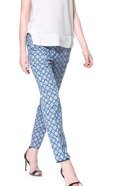 Printed Trousers - length: standard; pocket detail: pockets at the sides; waist: mid/regular rise; secondary colour: ivory/cream; predominant colour: pale blue; occasions: casual, evening, work, holiday; fibres: cotton - stretch; texture group: cotton feel fabrics; fit: slim leg; pattern type: fabric; pattern: patterned/print; style: standard; trends: playful prints; season: s/s 2013; pattern size: big & busy (bottom)