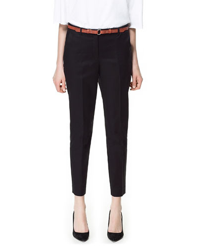 Basic Trousers - pattern: plain; pocket detail: small back pockets, pockets at the sides; style: peg leg; waist detail: belted waist/tie at waist/drawstring; waist: mid/regular rise; predominant colour: black; occasions: casual, evening, work; length: ankle length; fibres: cotton - stretch; texture group: cotton feel fabrics; fit: tapered; pattern type: fabric; season: s/s 2013