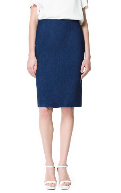 Pencil Skirt With Top Stitching - pattern: plain; style: pencil; fit: tailored/fitted; waist: mid/regular rise; predominant colour: royal blue; occasions: casual, evening, work, occasion; length: just above the knee; fibres: cotton - stretch; pattern type: fabric; texture group: other - light to midweight; season: s/s 2013