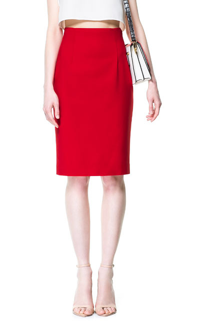 High Waist Pencil Skirt - pattern: plain; style: pencil; fit: tailored/fitted; waist: high rise; predominant colour: true red; occasions: casual, evening, work, occasion; length: just above the knee; fibres: cotton - stretch; texture group: cotton feel fabrics; pattern type: fabric; season: s/s 2013