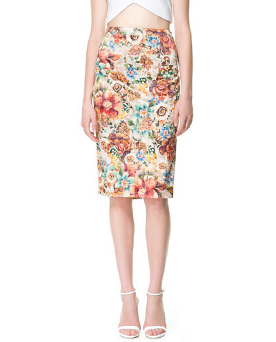 Printed Pencil Skirt - style: pencil; fit: tailored/fitted; waist: high rise; occasions: casual, work, occasion; length: on the knee; fibres: cotton - stretch; waist detail: feature waist detail; predominant colour: multicoloured; pattern type: fabric; pattern: florals; texture group: other - light to midweight; season: s/s 2013; pattern size: big & busy (bottom); multicoloured: multicoloured
