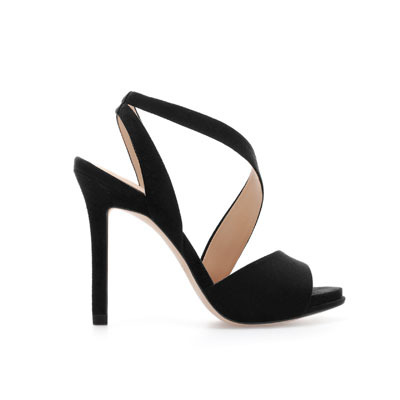 Heeled Strappy Sandals - predominant colour: black; occasions: evening, occasion, holiday; material: faux leather; heel height: high; heel: standard; toe: open toe/peeptoe; style: strappy; finish: plain; pattern: plain; season: s/s 2013
