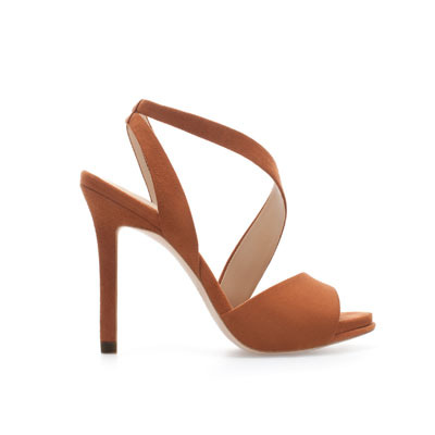 Heeled Strappy Sandals - predominant colour: tan; occasions: evening, occasion; material: fabric; heel: stiletto; toe: open toe/peeptoe; style: strappy; finish: plain; pattern: plain; heel height: very high; season: s/s 2013