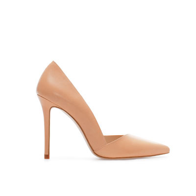 Asymmetric Leather Pointy Shoe - predominant colour: stone; occasions: work, occasion; material: leather; heel height: high; embellishment: crystals/glass; heel: stiletto; toe: pointed toe; style: courts; finish: plain; pattern: plain; season: s/s 2013