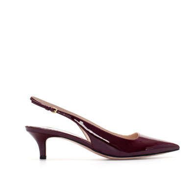 Kitten Heel Synthetic Patent Leather Sling Back Shoes - predominant colour: burgundy; occasions: casual, evening, work, occasion; material: faux leather; heel height: mid; heel: kitten; toe: pointed toe; style: slingbacks; finish: patent; pattern: plain; season: s/s 2013