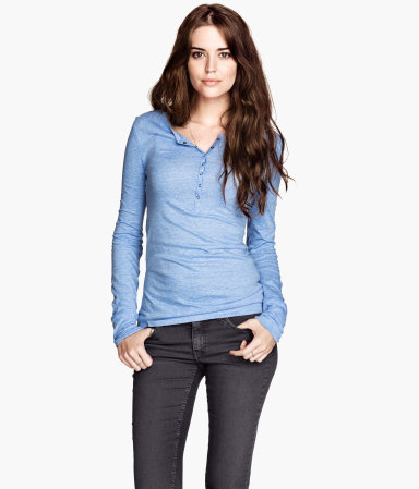 Marled Jersey Top - neckline: round neck; pattern: plain; bust detail: buttons at bust (in middle at breastbone)/zip detail at bust; predominant colour: denim; occasions: casual; length: standard; style: top; fibres: cotton - mix; fit: body skimming; sleeve length: long sleeve; sleeve style: standard; pattern type: fabric; texture group: jersey - stretchy/drapey; season: s/s 2013