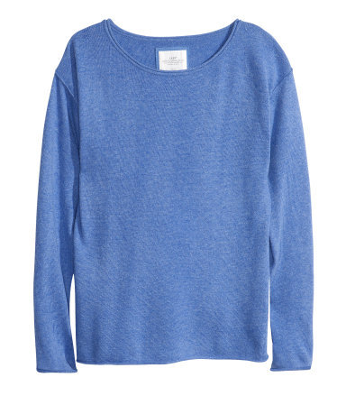 Knitted Jumper - neckline: round neck; pattern: plain; style: standard; predominant colour: denim; occasions: casual; length: standard; fibres: cotton - mix; fit: standard fit; sleeve length: long sleeve; sleeve style: standard; texture group: knits/crochet; pattern type: knitted - fine stitch; season: s/s 2013