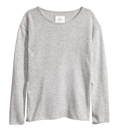 Knitted Jumper - neckline: round neck; pattern: plain; style: standard; predominant colour: light grey; occasions: casual; length: standard; fibres: cotton - mix; fit: standard fit; sleeve length: long sleeve; sleeve style: standard; texture group: knits/crochet; pattern type: knitted - fine stitch; season: s/s 2013