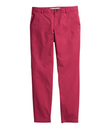 Chinos - length: standard; pattern: plain; pocket detail: small back pockets, pockets at the sides; waist: mid/regular rise; predominant colour: true red; occasions: casual; style: chino; fibres: cotton - stretch; texture group: cotton feel fabrics; fit: slim leg; pattern type: fabric; trends: broody brights; season: s/s 2013