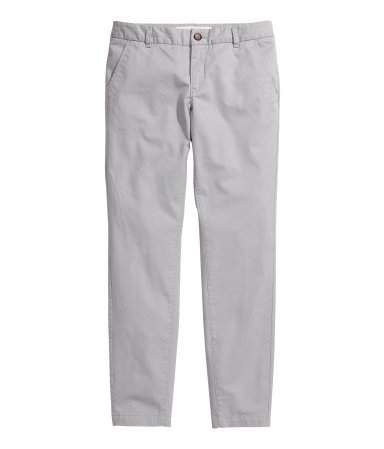 Chinos - pattern: plain; pocket detail: small back pockets, pockets at the sides; waist: mid/regular rise; predominant colour: light grey; occasions: casual, work; length: ankle length; style: chino; fibres: cotton - stretch; texture group: cotton feel fabrics; fit: slim leg; pattern type: fabric; season: s/s 2013