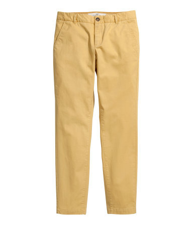 Chinos - pattern: plain; pocket detail: small back pockets, pockets at the sides; waist: mid/regular rise; predominant colour: mustard; occasions: casual, holiday; length: ankle length; style: chino; fibres: cotton - stretch; texture group: cotton feel fabrics; fit: slim leg; pattern type: fabric; trends: broody brights; season: s/s 2013
