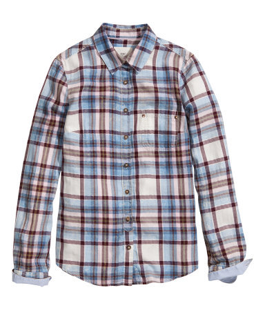 Cotton Shirt - neckline: shirt collar/peter pan/zip with opening; pattern: checked/gingham; style: shirt; secondary colour: white; predominant colour: pale blue; occasions: casual; length: standard; fibres: cotton - 100%; fit: straight cut; sleeve length: long sleeve; sleeve style: standard; texture group: cotton feel fabrics; pattern type: fabric; pattern size: standard; season: s/s 2013
