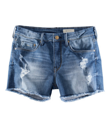 Denim Shorts - pattern: plain; pocket detail: traditional 5 pocket; waist: mid/regular rise; predominant colour: denim; occasions: casual, holiday; fibres: cotton - stretch; texture group: denim; pattern type: fabric; season: s/s 2013; style: denim; length: short shorts; fit: slim leg