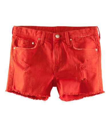 Denim Shorts - pattern: plain; pocket detail: traditional 5 pocket; waist: mid/regular rise; predominant colour: true red; occasions: casual, holiday; fibres: cotton - stretch; texture group: denim; pattern type: fabric; season: s/s 2013; style: denim; length: short shorts; fit: slim leg