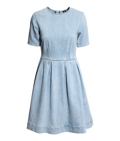 Denim Dress - pattern: plain; predominant colour: pale blue; occasions: casual, evening; length: just above the knee; fit: fitted at waist & bust; style: fit & flare; fibres: cotton - stretch; neckline: crew; sleeve length: short sleeve; sleeve style: standard; texture group: denim; pattern type: fabric; trends: gorgeous grunge; season: s/s 2013