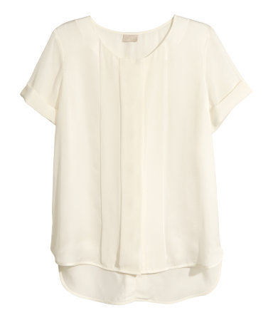 Satin Blouse - neckline: round neck; pattern: plain; style: blouse; bust detail: ruching/gathering/draping/layers/pintuck pleats at bust; predominant colour: ivory/cream; occasions: casual, evening, work; length: standard; fibres: polyester/polyamide - 100%; fit: straight cut; sleeve length: short sleeve; sleeve style: standard; texture group: structured shiny - satin/tafetta/silk etc.; pattern type: fabric; season: s/s 2013