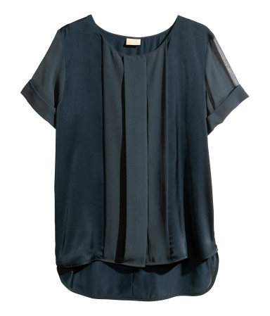 Satin Blouse - neckline: round neck; pattern: plain; style: blouse; bust detail: ruching/gathering/draping/layers/pintuck pleats at bust; predominant colour: navy; occasions: casual, evening, work; length: standard; fibres: polyester/polyamide - 100%; fit: straight cut; sleeve length: short sleeve; sleeve style: standard; texture group: structured shiny - satin/tafetta/silk etc.; pattern type: fabric; season: s/s 2013