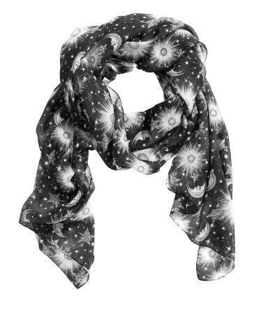 Scarf With A Print - secondary colour: white; predominant colour: black; occasions: casual, evening, work, occasion; type of pattern: standard; style: regular; size: large; material: fabric; pattern: patterned/print; trends: playful prints; season: s/s 2013
