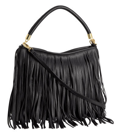 Fringed Bag - secondary colour: gold; predominant colour: black; occasions: casual, creative work; type of pattern: standard; style: tote; length: handle; size: standard; material: faux leather; embellishment: fringing; pattern: plain; finish: plain; season: s/s 2013