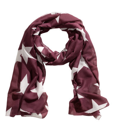 Patterned Scarf - secondary colour: white; predominant colour: burgundy; occasions: casual, evening, work, occasion, holiday; type of pattern: large; style: regular; size: standard; material: fabric; pattern: patterned/print; trends: playful prints; season: s/s 2013