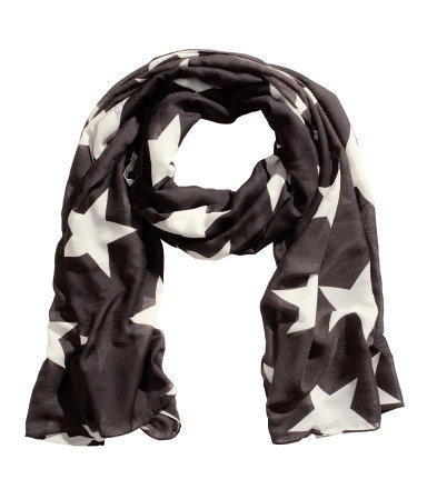 Patterned Scarf - secondary colour: white; predominant colour: black; occasions: casual, evening, work, occasion; type of pattern: large; style: regular; size: standard; material: fabric; pattern: patterned/print; trends: playful prints; season: s/s 2013