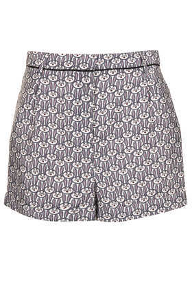 Co Ord Bunny Print Shorts - waist: high rise; occasions: casual, evening, holiday; fibres: polyester/polyamide - 100%; predominant colour: multicoloured; pattern type: fabric; pattern: patterned/print; texture group: woven light midweight; season: s/s 2013; pattern size: big & busy (bottom); multicoloured: multicoloured; style: shorts; length: short shorts; fit: slim leg