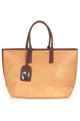 2 Tone Weekend Tote - secondary colour: chocolate brown; predominant colour: camel; occasions: casual, work, holiday; type of pattern: standard; style: tote; length: handle; size: oversized; material: faux leather; finish: plain; pattern: colourblock; season: s/s 2013