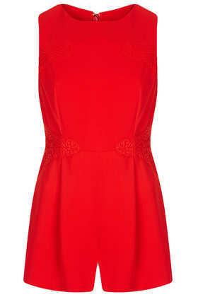 Lace Panel Playsuit - fit: fitted at waist; sleeve style: sleeveless; length: short shorts; predominant colour: true red; occasions: casual, evening, occasion, holiday; fibres: polyester/polyamide - 100%; neckline: crew; sleeve length: sleeveless; texture group: lace; style: playsuit; pattern: patterned/print; season: s/s 2013
