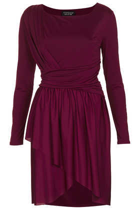 Wrap Twist Dress - style: shift; neckline: round neck; fit: fitted at waist; pattern: plain; waist detail: twist front waist detail/nipped in at waist on one side/soft pleats/draping/ruching/gathering waist detail; predominant colour: aubergine; occasions: evening; length: just above the knee; fibres: polyester/polyamide - stretch; hip detail: soft pleats at hip/draping at hip/flared at hip; sleeve length: long sleeve; sleeve style: standard; pattern type: fabric; texture group: jersey - stretchy/drapey; season: s/s 2013