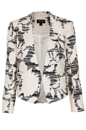 Flower Print Cropped Jacket - style: single breasted blazer; collar: round collar/collarless; predominant colour: ivory/cream; secondary colour: black; occasions: casual, evening, work, occasion; fit: tailored/fitted; fibres: cotton - 100%; sleeve length: long sleeve; sleeve style: standard; collar break: low/open; pattern type: fabric; pattern size: standard; pattern: patterned/print; texture group: woven light midweight; trends: playful prints; season: s/s 2013; length: cropped