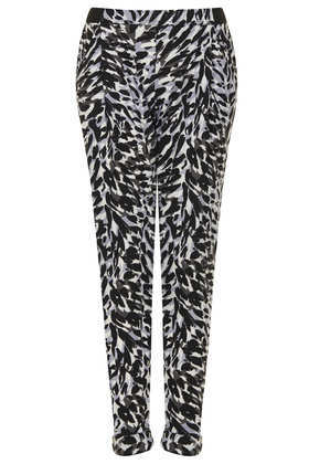 Speckle Leopard Jersey Tapered Trousers - length: standard; style: peg leg; pocket detail: pockets at the sides; waist: mid/regular rise; secondary colour: light grey; predominant colour: black; occasions: casual; fibres: polyester/polyamide - 100%; texture group: crepes; fit: tapered; pattern type: fabric; pattern: animal print; trends: gorgeous grunge, playful prints, monochrome; season: s/s 2013; pattern size: big & busy (bottom)