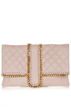 Quilted Chain Clutch - predominant colour: nude; secondary colour: gold; occasions: evening, occasion; style: clutch; length: hand carry; size: standard; material: leather; pattern: plain; finish: plain; embellishment: chain/metal; season: s/s 2013