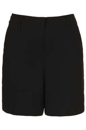 Black Longline Shorts - pattern: plain; pocket detail: small back pockets, pockets at the sides; waist: mid/regular rise; predominant colour: black; occasions: casual, evening, work; fibres: polyester/polyamide - 100%; texture group: crepes; pattern type: fabric; season: s/s 2013; wardrobe: basic; style: shorts; length: mid thigh shorts; fit: slim leg