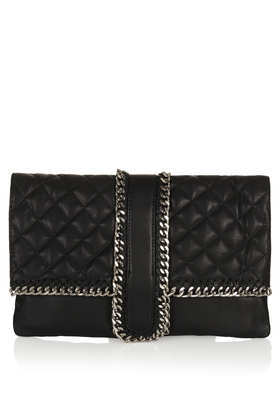 Quilted Chain Clutch - predominant colour: black; occasions: casual, evening, occasion; style: clutch; length: hand carry; size: standard; material: leather; pattern: plain; finish: plain; embellishment: chain/metal; season: s/s 2013