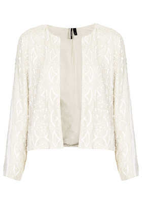 Embellished Cropped Jacket - pattern: plain; style: single breasted blazer; collar: round collar/collarless; predominant colour: white; secondary colour: white; occasions: evening, occasion; fit: straight cut (boxy); fibres: polyester/polyamide - 100%; sleeve length: long sleeve; sleeve style: standard; collar break: high; pattern type: fabric; texture group: other - light to midweight; embellishment: sequins; trends: excess embellishment; season: s/s 2013; length: cropped